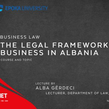 Lecture: Business Law: The legal framework for business in Albania