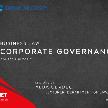Lecture: Business Law: Corporate Governance